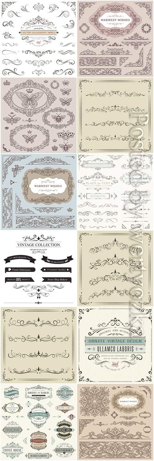 Retro frames and scrolls, ornaments, labels elements vector