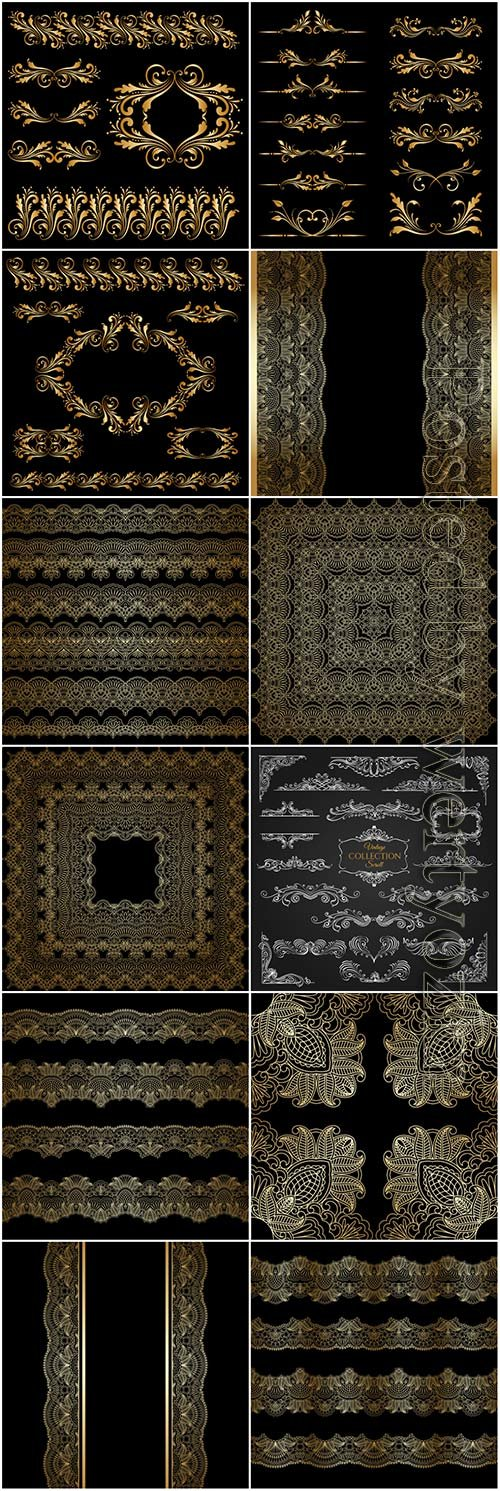 Ornaments elements vector collection, frame