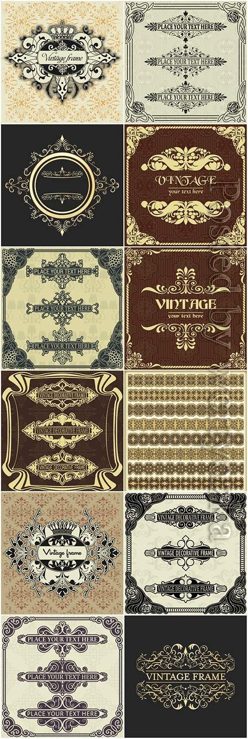 Vintage frame, ornaments elements vector collection
