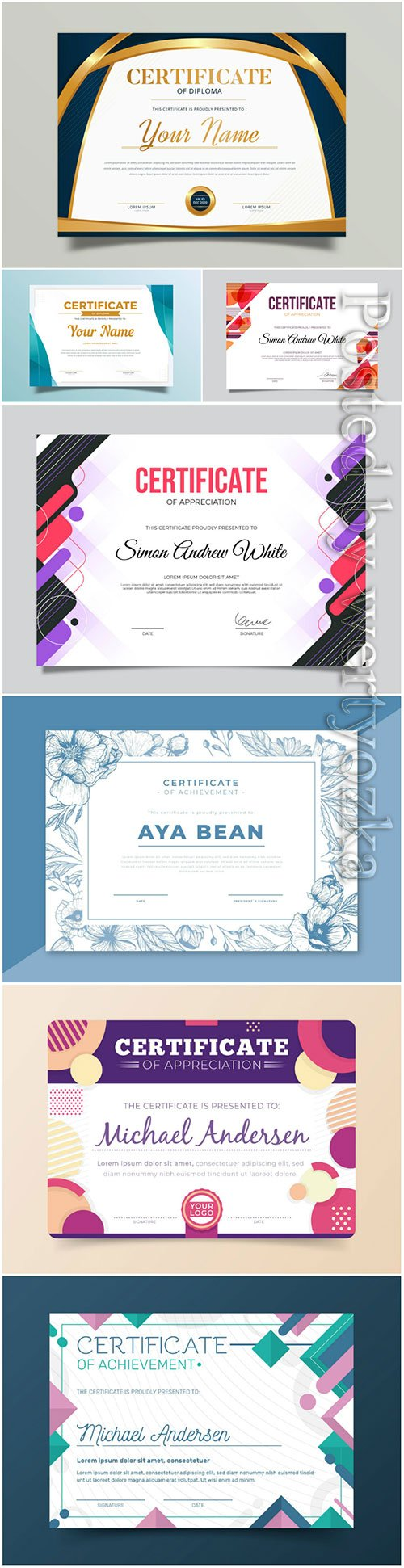 Certificates and diplomas templates in vector