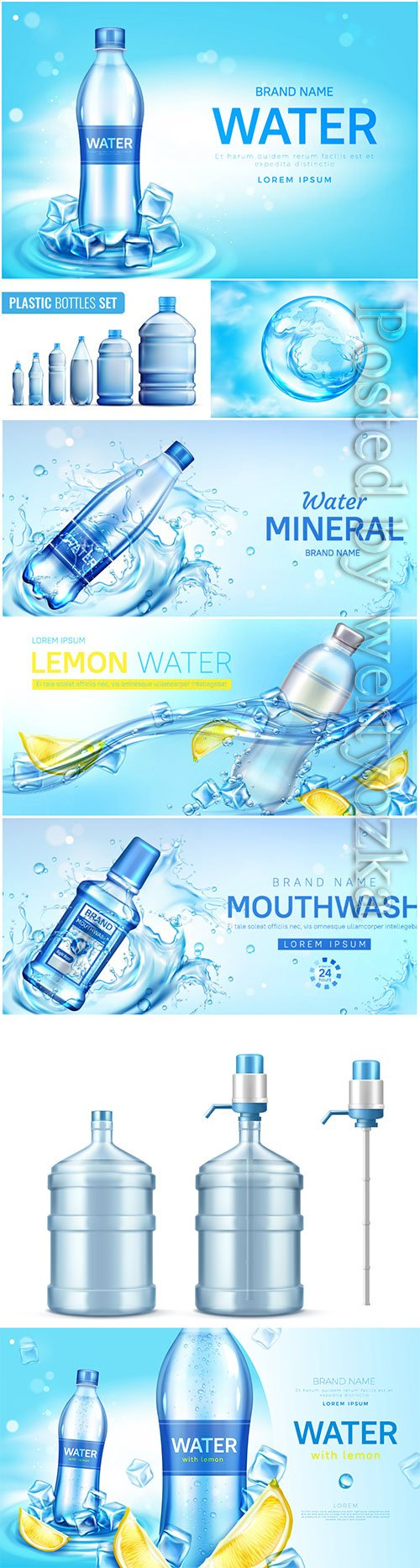 Water bottle ad banner, flask with drink, splashing water drops in vector # 3