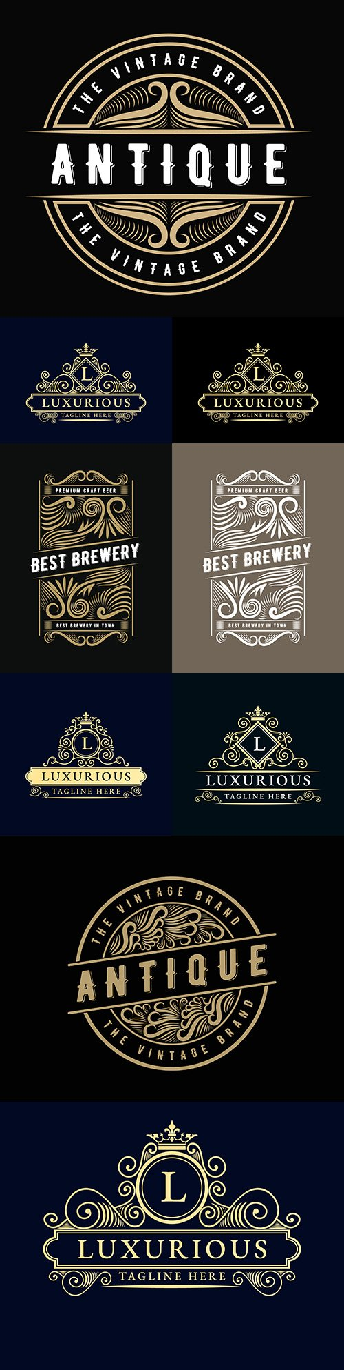 Old retro luxury logo with decorative royal brand frame