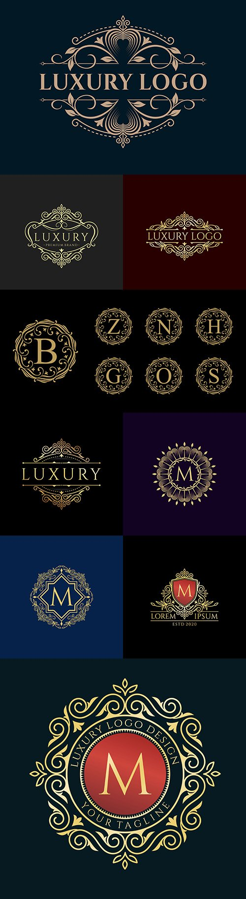 Letter and vintage luxurious logo collection design
