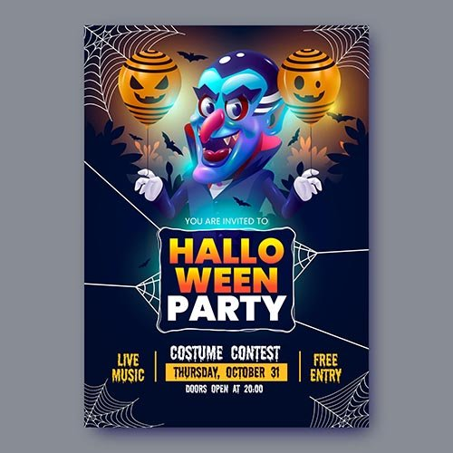 Realistic halloween party flyer
