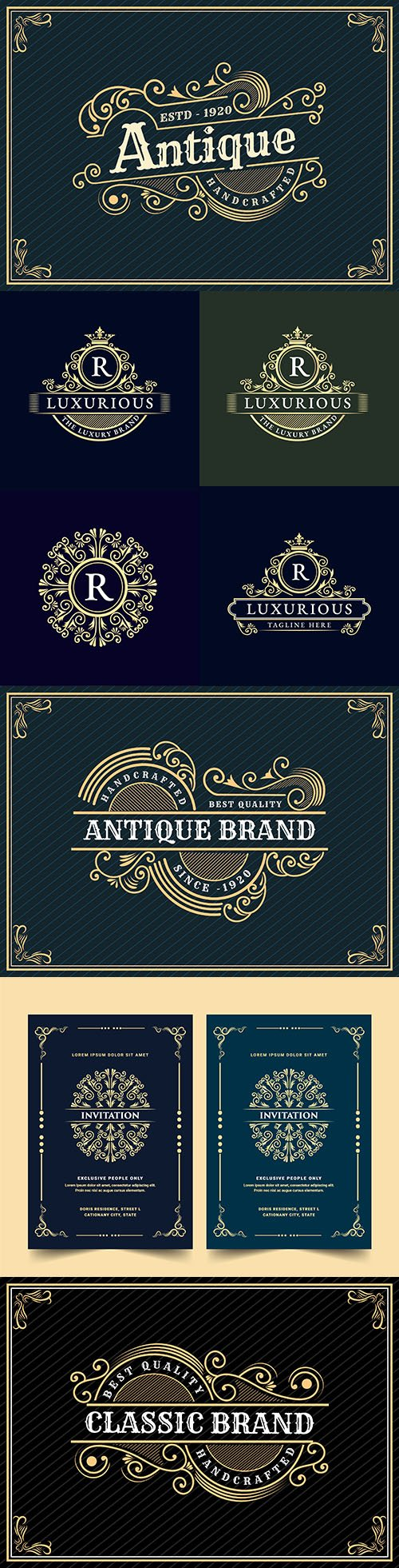 Luxurious vintage logo design with decorative frame