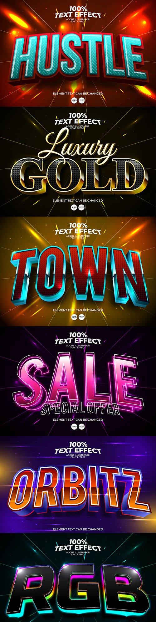 Editable font effect text collection illustration design 192