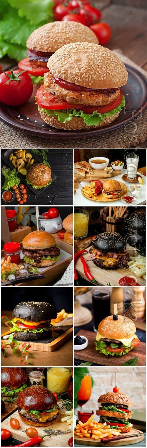 Burgers, fast food set stock photo