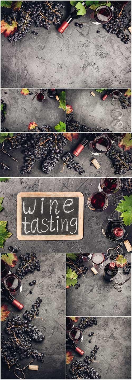 Wine set stock photo