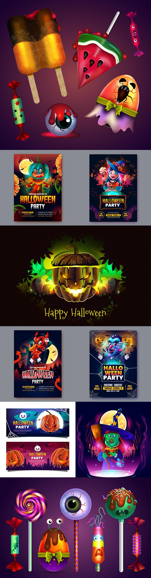 Happy Halloween holiday banner realistic illustration collection