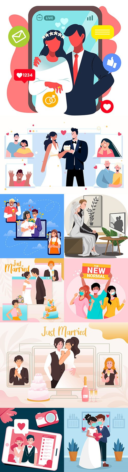 Wedding festive ceremony flat design illustration
