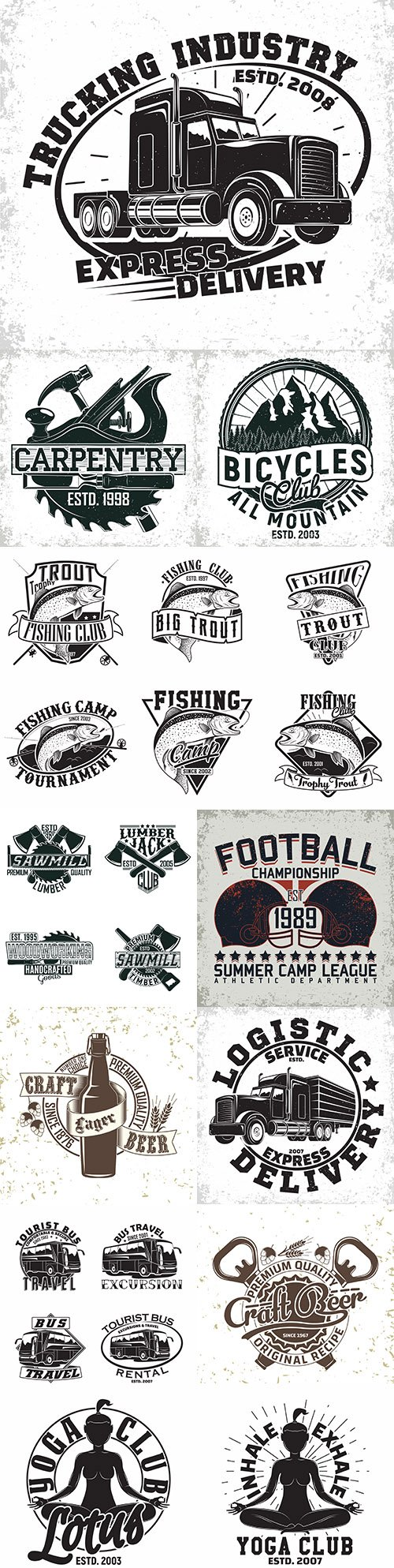 Vintage emblems and logos with lettering design 7