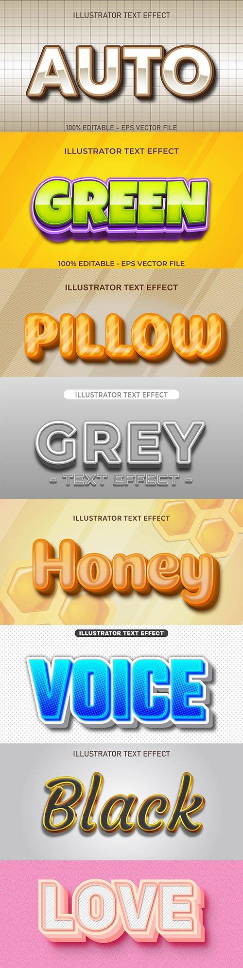 Editable font effect text collection illustration design 195