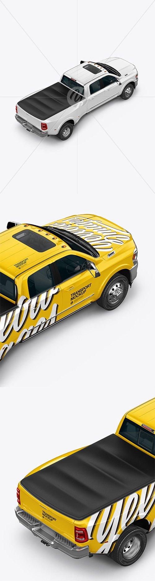 Pickup Truck Mockup - Back Half Side View 64211