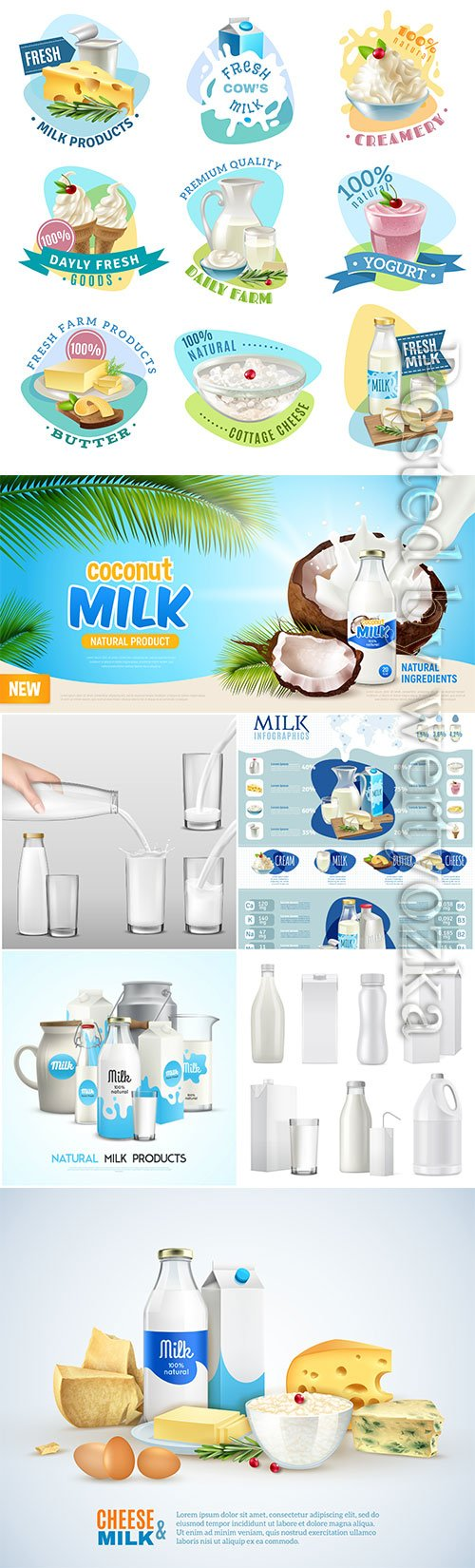 Dairy products vector collection
