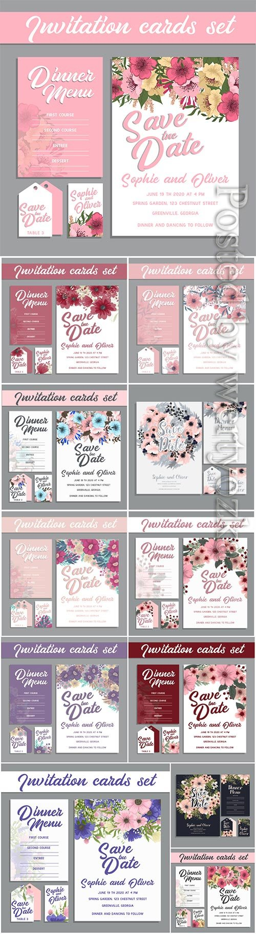 Wedding invitation card suite with flowers, template vector illustration