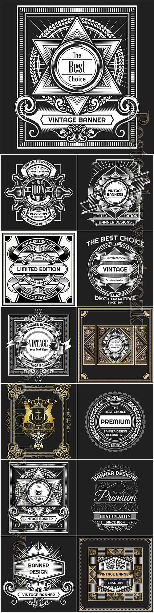 Vintage labels in vector, ornaments and logos # 4