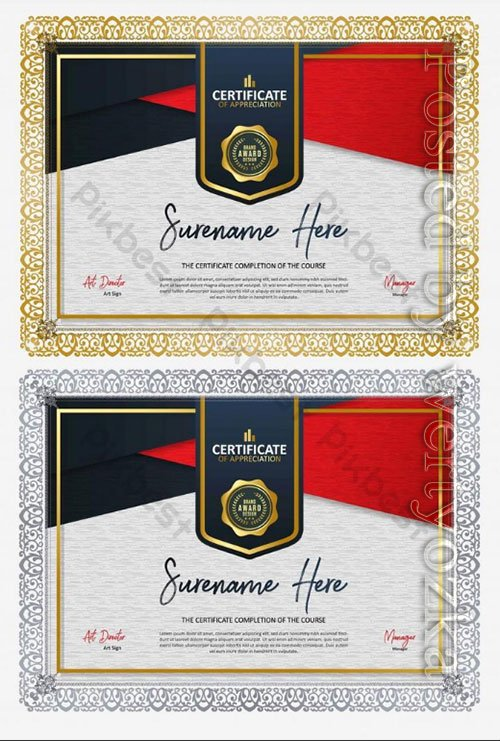 Certificate design appreciation diploma honor award certificate
