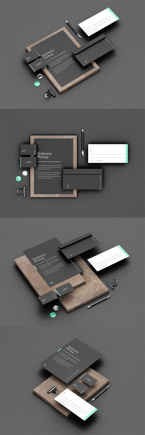 Dark Stationery PSD Mockups With Elegant Stone Cube