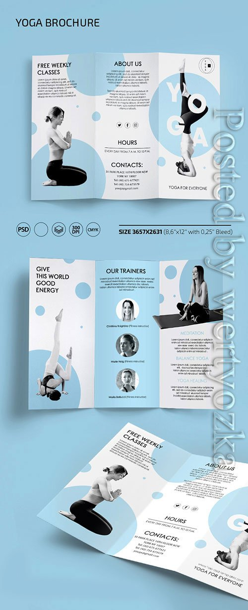 Yoga trifold brochure templates in psd
