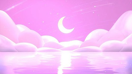 Pink Sea And Moon 28138066