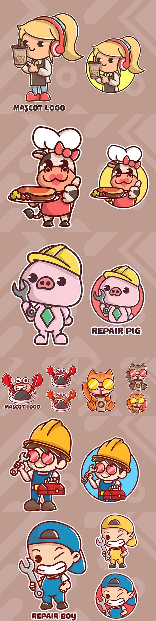 Cute logo and animal mascot with extra appearance