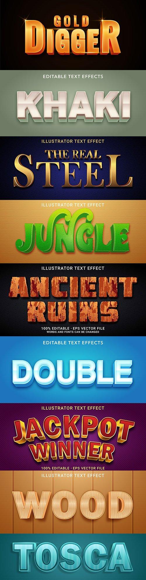 Editable font effect text collection illustration design 199