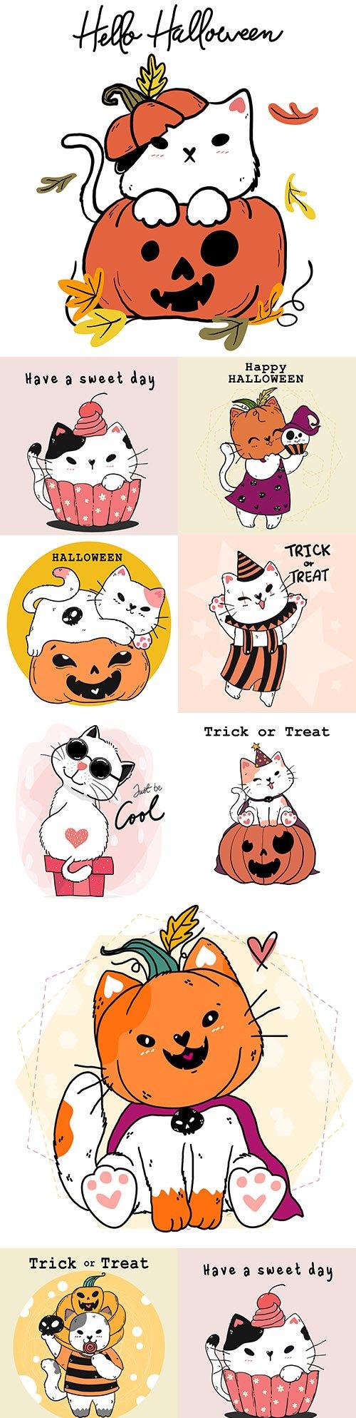 Cute happy cartoon white cat in Halloween costume