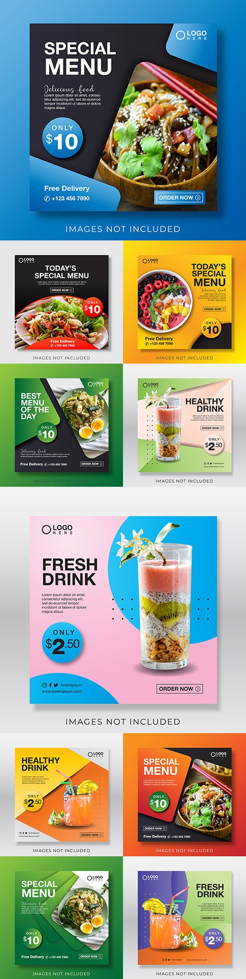 Special menu and drinks design template for social networks