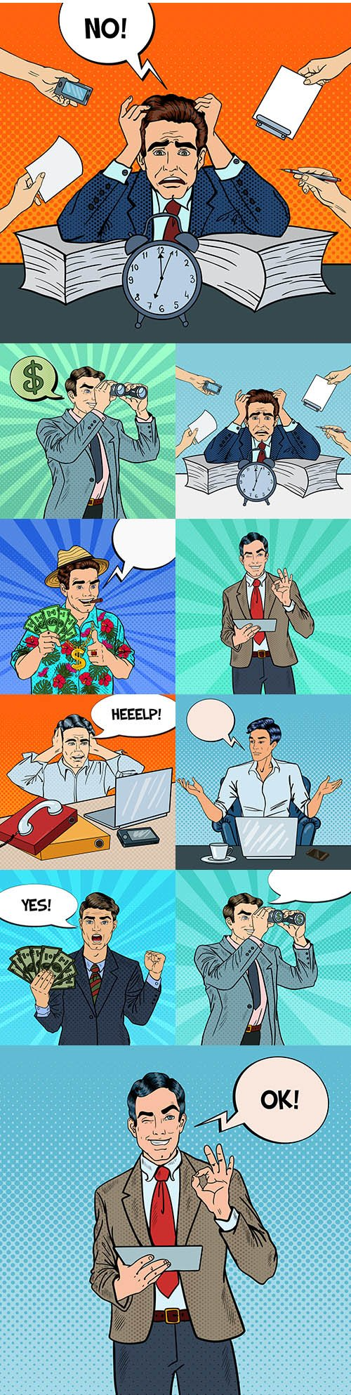 Pop art businessman in multitasking office work illustration