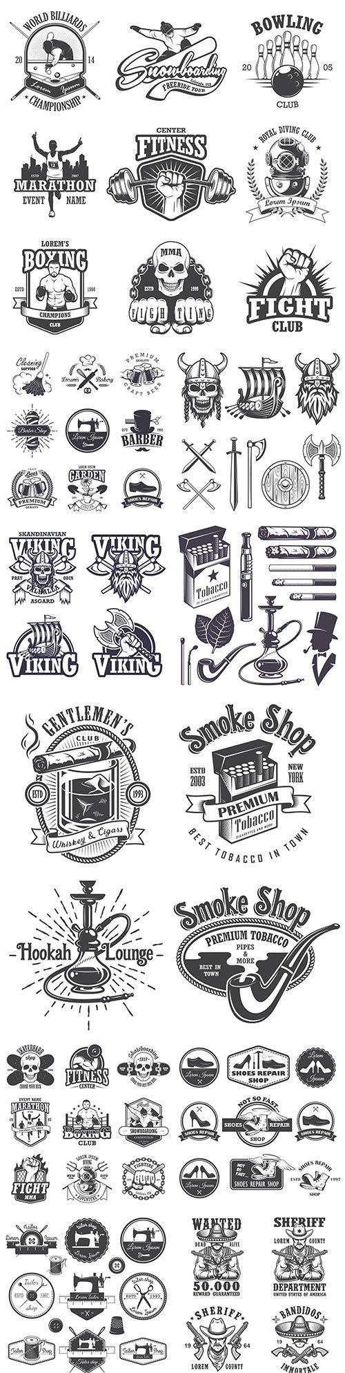 Antique emblems, labels, badges and logos monochrome style