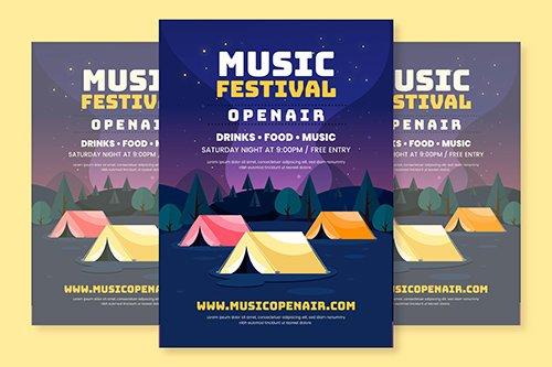 Flat Design Open Air Music Festival Poster Template