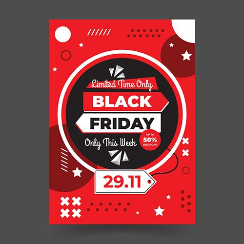 Memphis Style Black Friday Flat Design Flyer Template