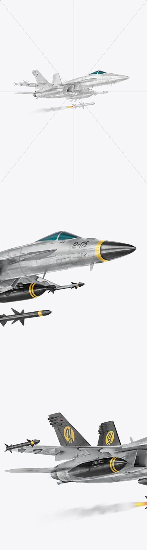 Combat Fighter with Rockets- Half Side View (Hero Shot) 65121