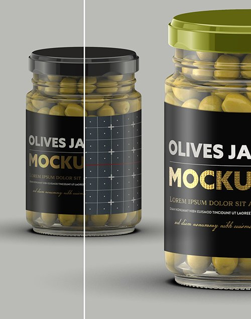 Clear Glass Jar with Olives Mockup 328596563