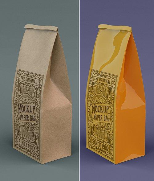 Kraft or Plastic Coffee Bag Mockup 328596601
