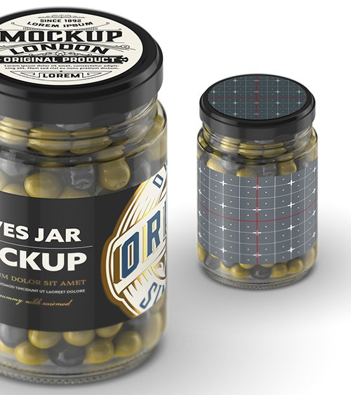 Clear Glass Jar with Olives Mockup 328596642