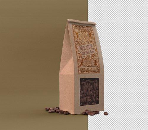 Paper Coffee Bag with Window Mockup 328596594