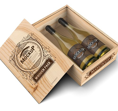 Wooden Box with White Wine Bottles 328596748