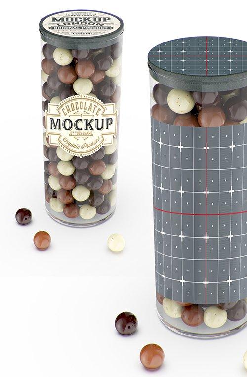 Jar with Chocolate Balls Mockup 328596702