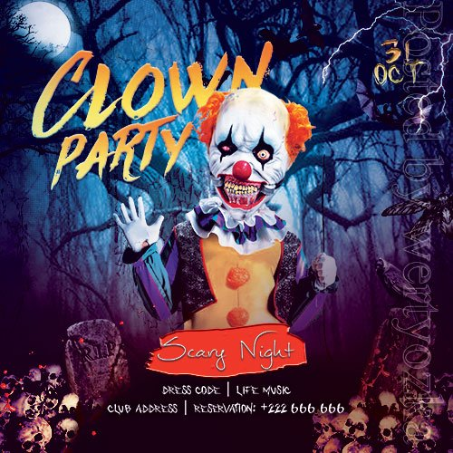 Clown Party Flyer PSD Template