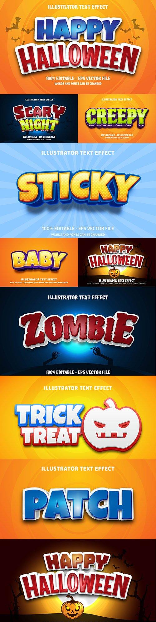 Editable font effect text collection illustration design 200