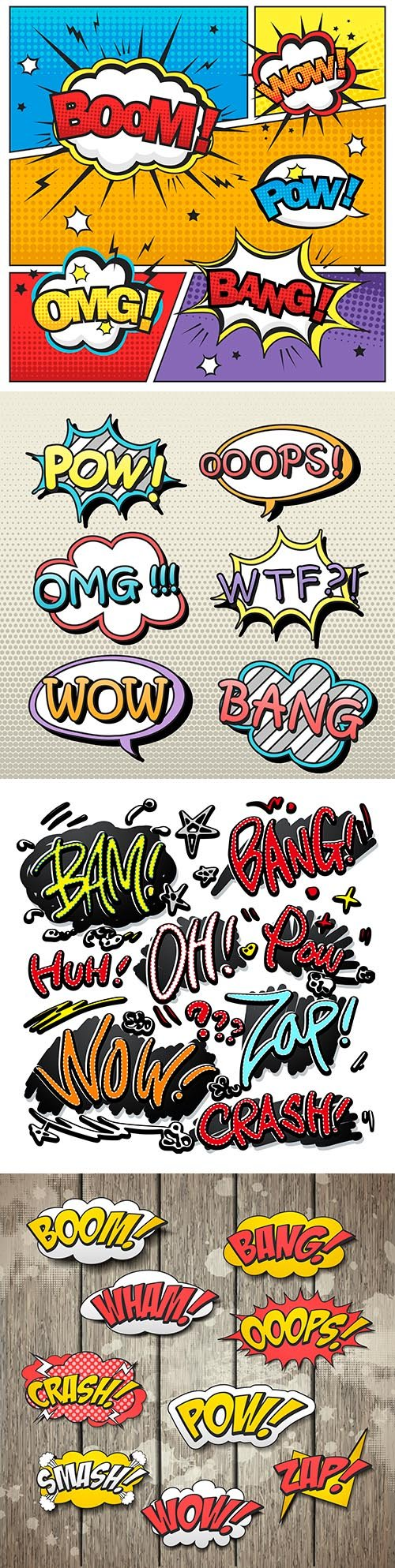 Bright colorful comic sound effects on background