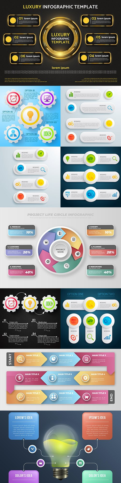 Business infographics options elements collection 155
