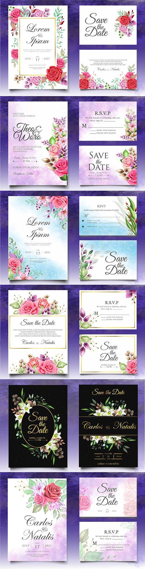 Beautiful watercolor floral template wedding invitation