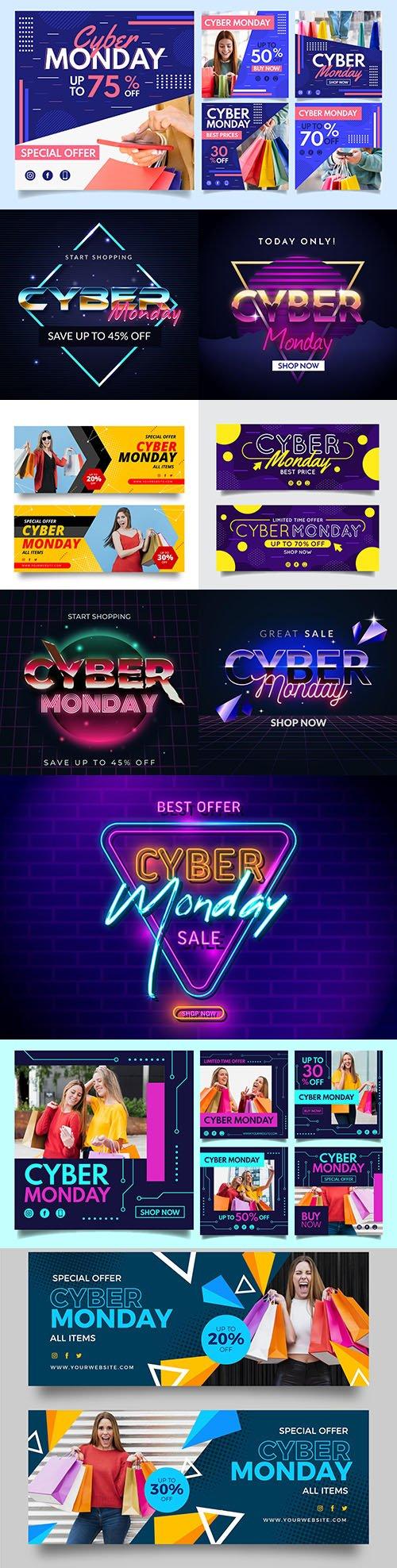 Cyber Monday retro futuristic shopping starts and instagram post