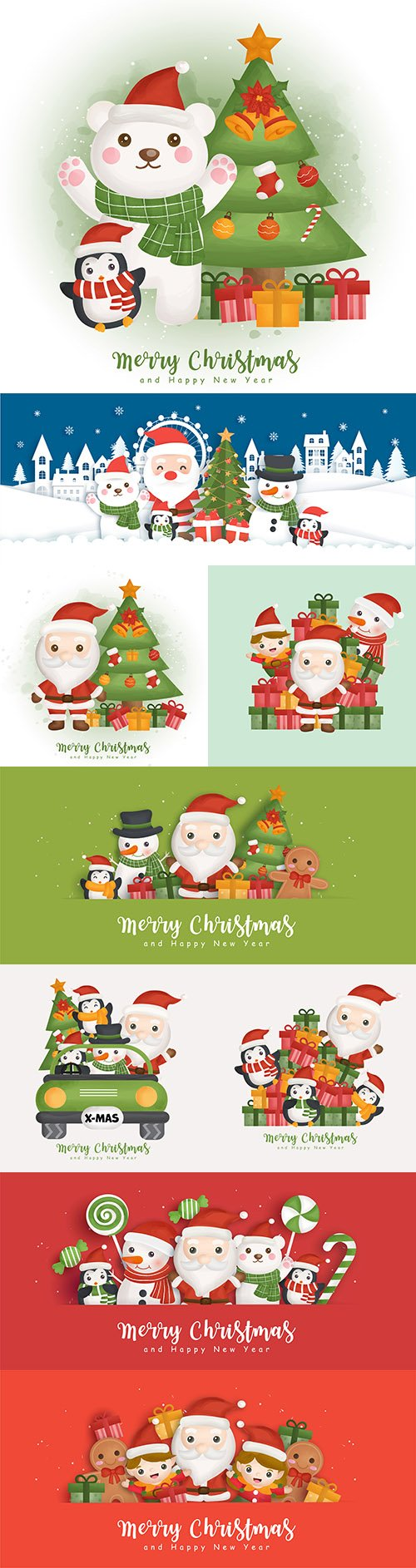 Merry Christmas background with Santa Claus elements and friends
