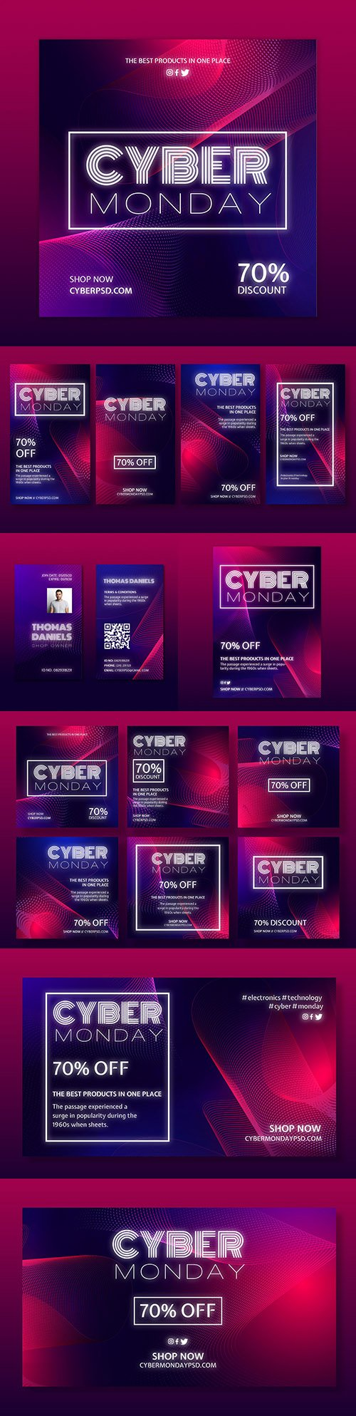 Cyber Monday sale design illustration template