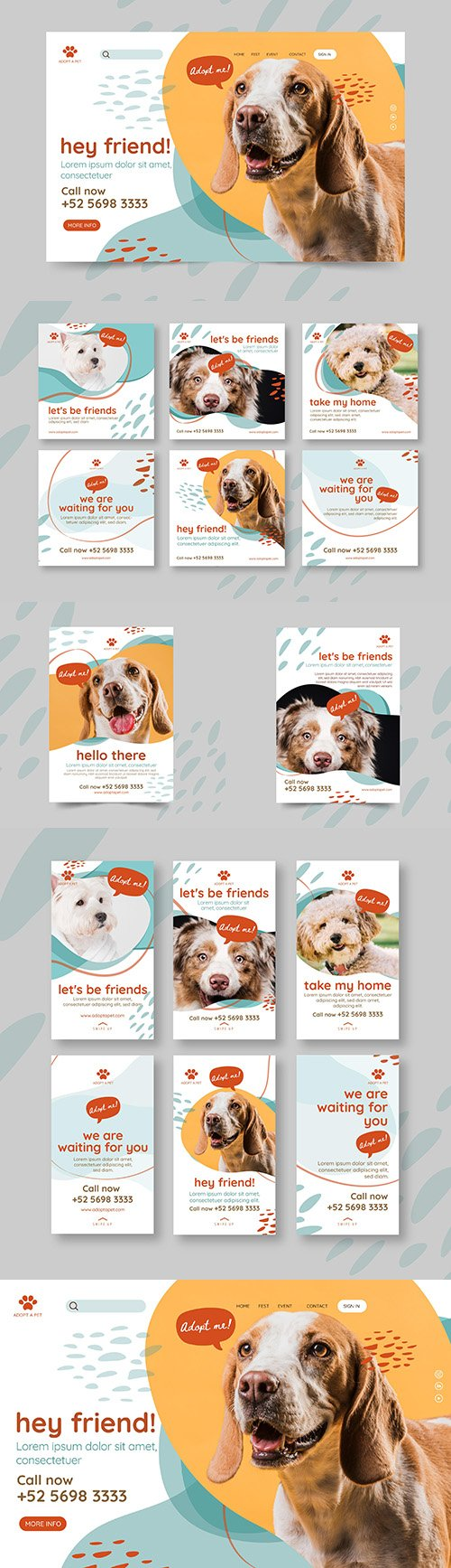 Pets stories on Instagram and poster design template
