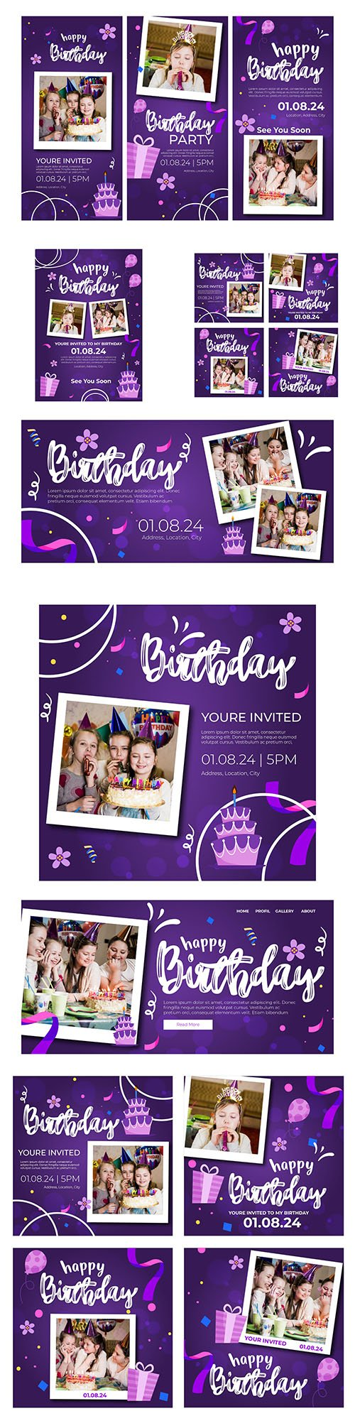 Children's birthday banner and instagram posts