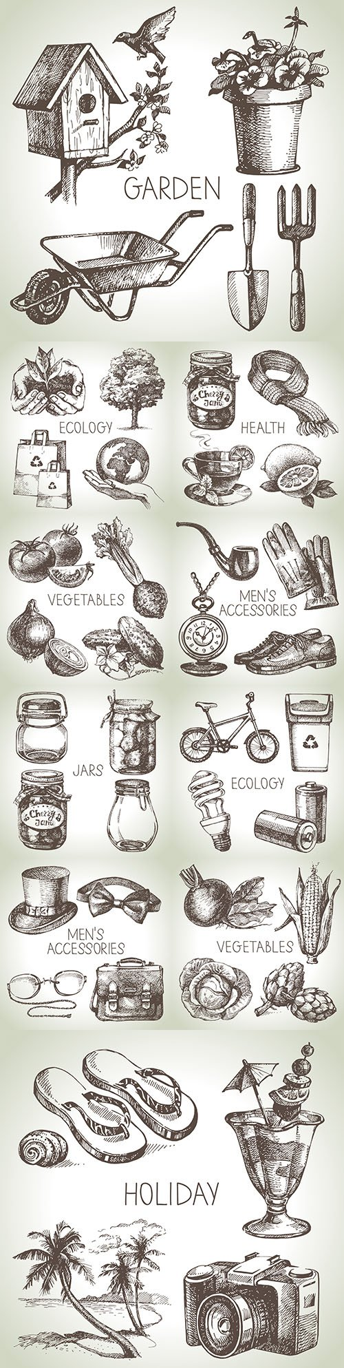 Sketch various accessories and objects design illustration